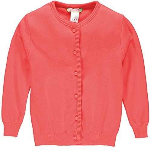 Sophie and Sam Girls' Soft Knit Cardigan Sweater (14/16, Coral) by Sophie and Sam