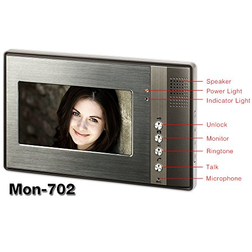 Wired 7 inch LCD Monitor Video Door Phone Intercom Doorbell Chimes Security Entry Access Control System for 4 Apartment Families Villa