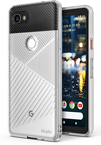 Price comparison product image Google Pixel 2 XL Phone Case Ringke [BEVEL] Grip Enhanced Diagonal Line Pattern TPU Form Fitting Drop Resistant Defense Minimalism Design Cover for Google Pixel 2 XL – Clear