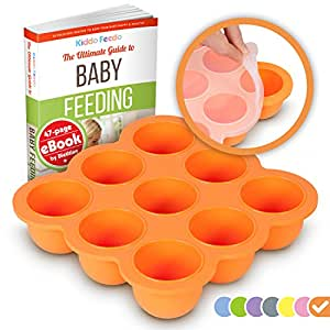 KIDDO FEEDO Baby Food Preparation & Storage Container Tray with Silicone Clip-On Lid - 9 x 2.6oz Easy-out Pods - BPA Free & FDA Approved - FREE eBook by Author/Dietitian - Orange