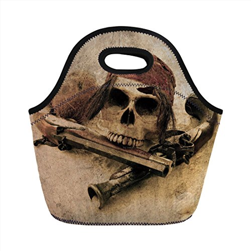 Neoprene Lunch Bag,Pirate,Pirate Skull with Headscarf and Guns on Beach Grunge Display Danger Robbery Death Decorative,Light Brown,for Kids Adult Thermal Insulated Tote Bags ()