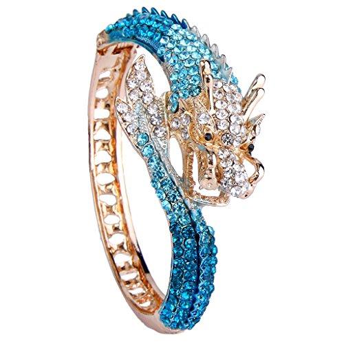 EVER FAITH Women's Austrian Crystal Cool Animal Fly Dragon Bangle Bracelet Blue Gold-Tone - Dragon Bangle Bracelet
