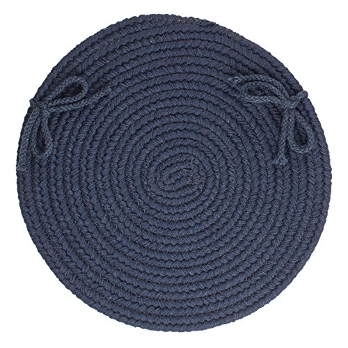 Solid Wool Chair Pad, Navy
