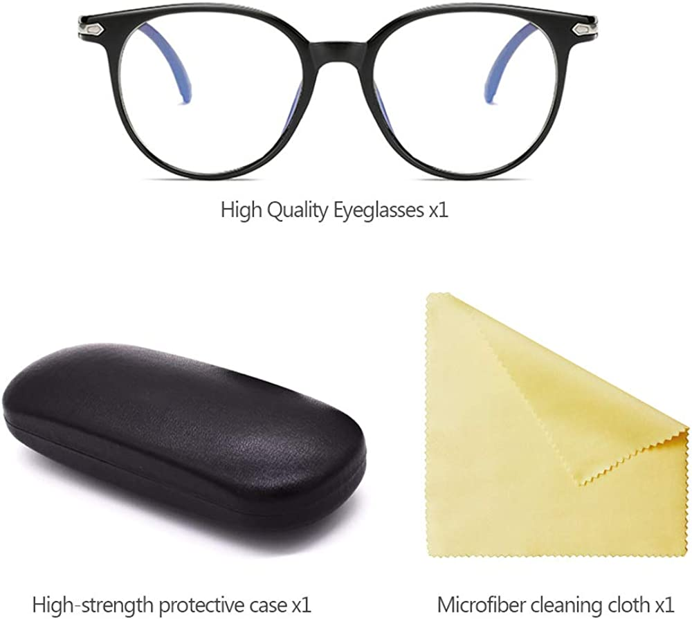LONMEI Oversized Frame Plain Eyelasses Round Glasses Non-prescription Glasses Clear Lens Eyeglasses for Women//Men