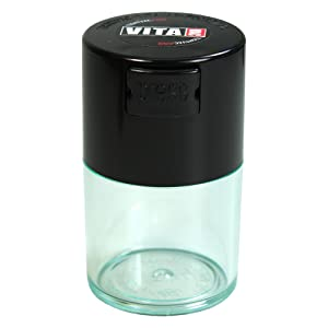 Vitavac - 5g to 20 grams Airtight Multi-Use Vacuum Seal Portable Storage Container for Dry Goods, Food, and Herbs - Black Cap & Clear Body