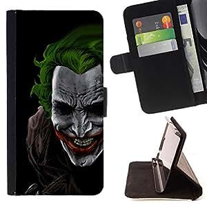 BullDog Case - FOR/LG G3 / - / Green Hair Joker /- Monedero de cuero de la PU Llevar cubierta de la caja con el ID Credit Card Slots Flip funda de cuer
