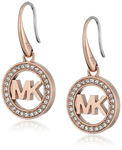 Michael Kors Rose Gold-Tone MK Logo Drop Earrings ()