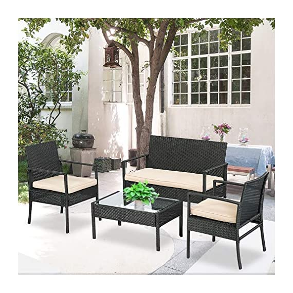 """Wicker Patio Furniture 3 Piece Patio Set Chairs Wicker Outdoor Rattan Conversation Sets Bistro Set Coffee Table for Yard or Backyard - INDOOR & OUTDOOR-Thickly Cushioned Wicker Patio Set Chairs For Maximum Comfort, Outdoor Bistro Set Gives You A Excellent Seating Experience.Our Garden Outdoor Conversation Set have strong feet to protect your floor and increase the stability of your furniture. Rattan Chair Dimension: 23"""" x 23"""" X 33 (L X W X H),Table Dimension: 16"""" x 16"""" x 16"""" (L X W X H) QUICK & EASY ASSEMBLY-This Outdoor Furniture Set Comes With All Hardware & Necessary Tools. Follow The Instruction, You Can Easily And Quickly Assemble The Patio Chair Set.The patio set is perfect for a small backyard or balcony, and serves as a relaxing place to enjoy time outdoors. SIMPLE & ELEGANT-The cushions of the patio bistro set use a high-density rebound sponge to give you a comfortable sitting feel.The patio set is simple and stylish,it will be perfect for decorating your yard, poolside, balcony, patio and home.Outdoor set features and elegant glass top side table perfect for a couple glasses of wine or the morning coffee and newspaper. - patio-furniture, patio, conversation-sets - 517LGSQ5qJL. SS570  -"""