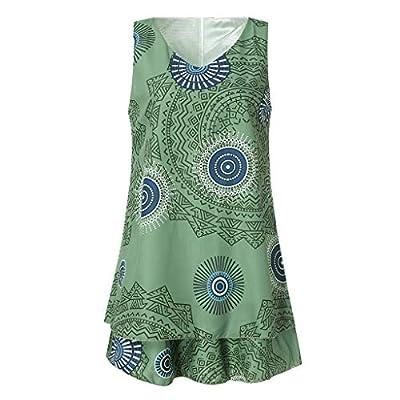 Toimothcn Womens Sleeveless Print Tank Tops Plus Size Loose Vest Sundress Shift Dress