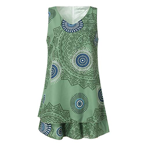 TOTOD Dress for Women,Plus Size Boho Print Mini Dress Loose Shift Sleeveless Tank Vest Sundress US 4-18 Army Green