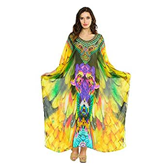 Women's Kaftan Beach Dresses Long Kaftan Dress In Feather Multicolor Round Neck Kaftan Caftan Dress Boho Gypsy Maxi Caftan Dress (Plus Size US Women's - Length 46 inches)