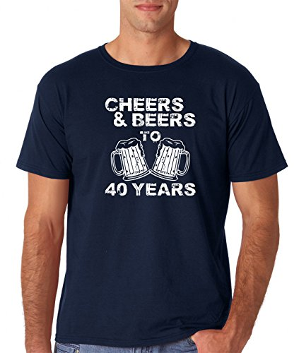 AW Fashions Cheers & Beers to 40 Years - 40th Birthday Present Gift for Fun Forty Year Old - Men's T-Shirt (Large, Navy)]()
