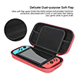 Handhold Protective Case for Nintendo Switch, iVAPO Carrying Case with Large Mesh Pocket for Nintendo Switch Shock-proof EVA Tough Pouch Travel Case for Nintendo Switch(2017)-Red
