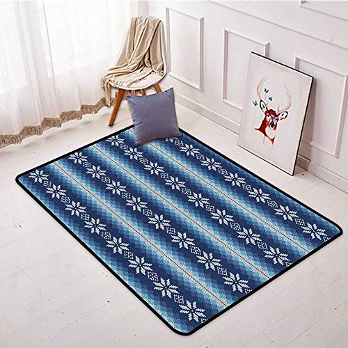 Bathroom Suction Door mat Winter Traditional Scandinavian Needlework Inspired Pattern Jacquard Flakes Knitting Theme W5'xL7' Suitable for Family by Anhounine (Image #1)