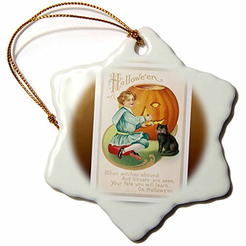 Ornaments to Paint BLN Vintage Halloween - Vintage Halloween Little Boy Carving a Pumpkin with a Black Cat -
