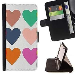 """Pastel Corazones Amor de San Valentín púrpura verde"""" - Modelo colorido cuero de la carpeta del tirón del caso cubierta piel Holster Funda protecció Para Samsung Galaxy E5 E500"""