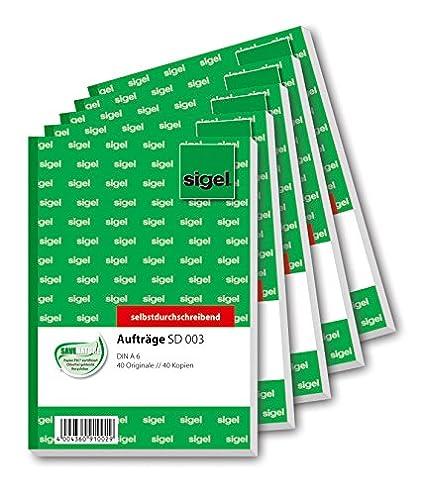 Sigel SD001 - Blocco commissioni, carta copiativa (2 fogli), formato A5, 3 blocchi da 2 x 40 fogli Sigel GmbH 001S3