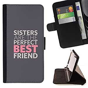 For Apple Iphone 5C SISTERS ARE THE BEST FRIENDS Beautiful Print Wallet Leather Case Cover With Credit Card Slots And Stand Function