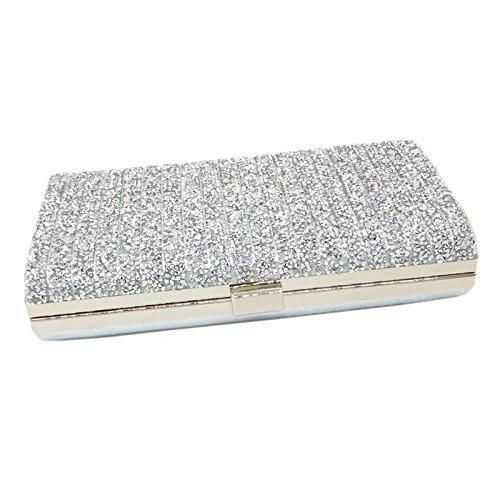 De De Cena Diamond Mini Bolso De Silver De Clutch Noche Mano Damas Holding Gold Bolso wzzgSq
