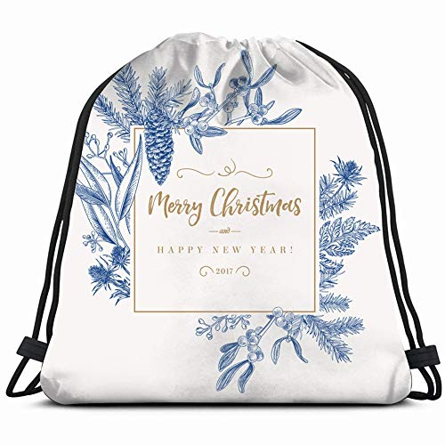 - christmas holiday frame pine branches mistletoe celebrities vintage Drawstring Backpack Gym Sack Lightweight Bag Water Resistant Gym Backpack for Women&Men for Sports,Travelling,Hiking,Camping,Shoppin
