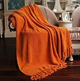 Nader Knitted Tweed Amazing Soft Super Light Weight Extra Warm Cozy Bed Couch Chair Sofa Home Decorative Throw Blanket, 50' x 60', Burnt Orange