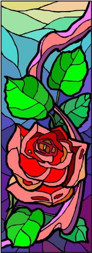 (Red Rose Flower and Green Leaves - Etched Vinyl Stained Glass Film, Static Cling Window Decal)