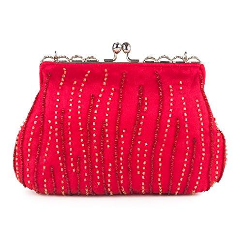 Farfalla 90472 - Bolso estilo sobre de satén mujer rojo - rojo