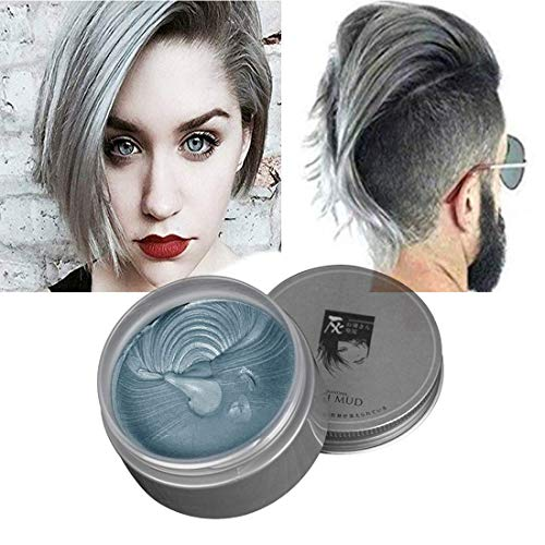 (❤️Slivere Grey Hair Color Wax,Instant Hair Wax,One-time Temporary Natural Hairstyle Color Hair Dye Wax,DIY Hair Clay Styling Styling Wax for Party, Cosplay, Daily use,Halloween (Slivere)