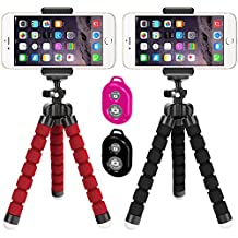 2 Pack Flexible Tripod, DLAND Portable and Adjustable Tripod Stand Holder for iPhone, Cellphone,Camera with Universal Clip and Remote.
