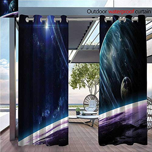 DESPKON Shading Pure Color Modern Minimalist Style erse with Planets and Dynamic Luminous Effects Celestial Body Astromy Furniture Material W55 x L72 INCH (Screen Fireplace Celestial)