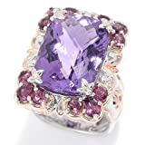 Michael Valitutti Palladium Silver Brazilian Amethyst & Multi Gemstone Cocktail Ring