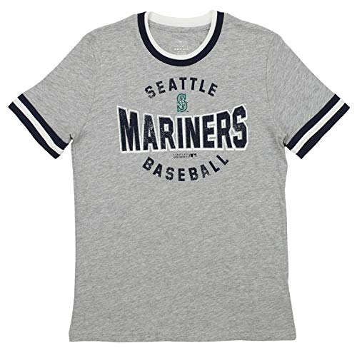 Outerstuff MLB Seattle Mariners Youth Boys 8-20 Ringer Short Sleeve Tee, Large (14-16), Heather Grey
