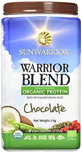 Sunwarrior Warrior Blend Plant Based Organic Protein Chocolate, 2.2 lbs