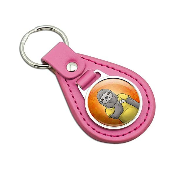 Portrait Of A Sloth Pink Leather Metal Keychain Key Ring -