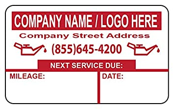 Custom Oil Change Stickers 1000+ FREE Sharpie with order!