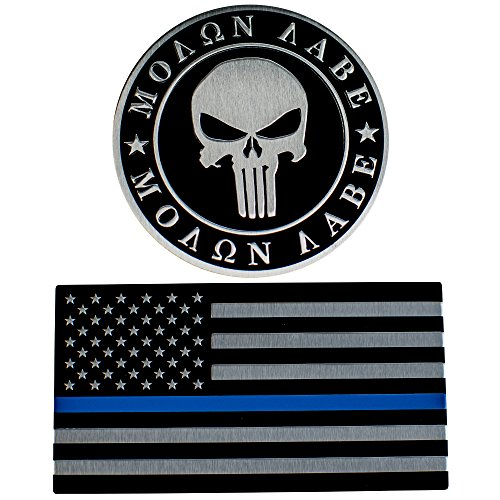ALUMINUM 2nd Amendment Decal Sticker Bumper Molon Labe Right To Bear Arms NRA (Molon Labe & Thin Blue Line Combo Pack) (Blue Car Metal)