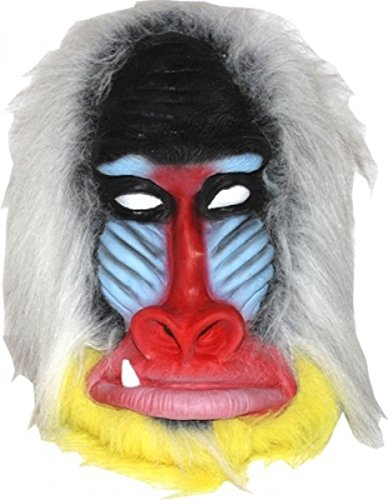 [Latex Full Head BABOON Mask w/ Faux Fur Mane] (Rafiki Lion King Halloween Costume)