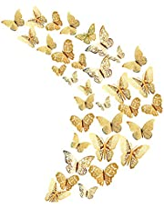 36 Stks Goud 3D Vlinder Muurstickers, Metallic Art Sticker, Vlinder Muurstickers voor Home Decor Vlinders Koelkast Sticker Kamer Decoratie Party Bruiloft Decor
