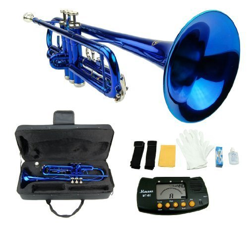Merano B Flat BLUE / Silver Trumpet with Case+Mouth Piece+Valve Oil+Metro Tuner