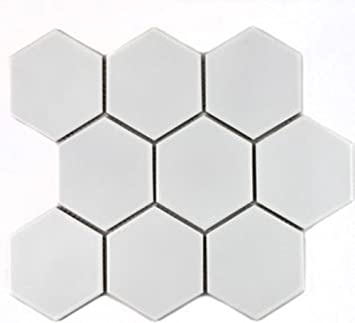 Hexagon uni wei/ß gl/änzend Keramik Mosaik Fliese 95x110x6,5mm
