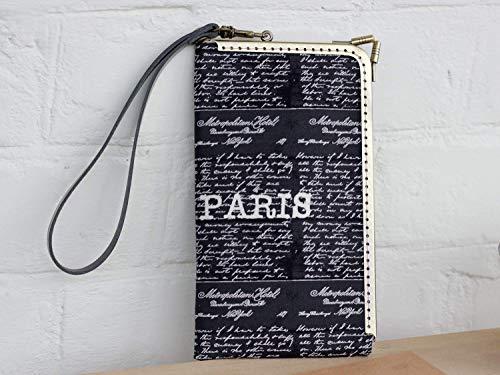 - Wristlet Phone Wallet Card Pocket Clutch Paris print fabric Wristlet Phone Case Mini Phone Pouch Leather strap fit for iPhone 7 Plus/8 Plus/XS Max/XR