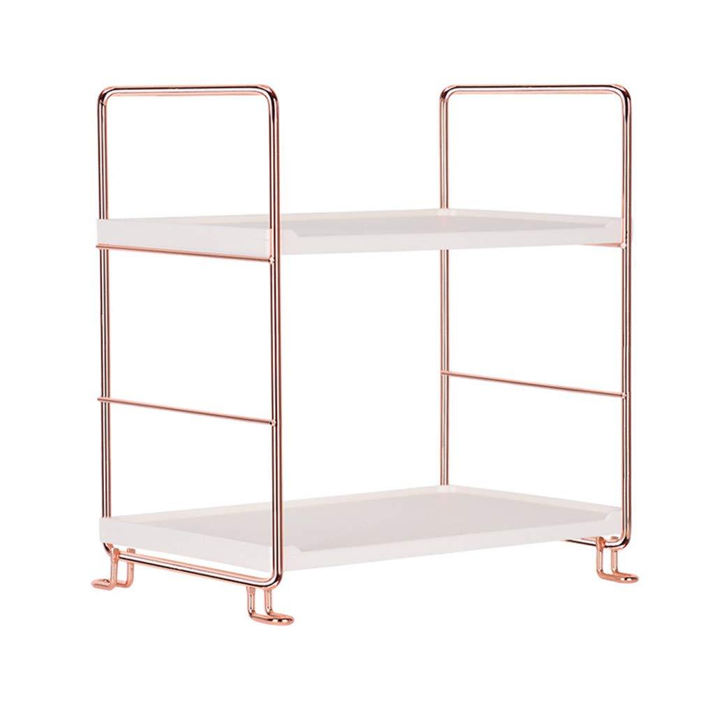 Kimanli Storage Shelf, Rose Gold Iron Corner Organizer Multifunctional Bathroom Caddy Shelf Kitchen Living Room Storage Rack Holder 2/3 Tier (2 Tier) by Kimanli