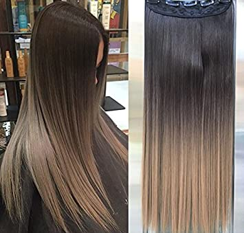 Amazon Com Synthetic Long Straight Ombre Dip Dyed Half Head Clip