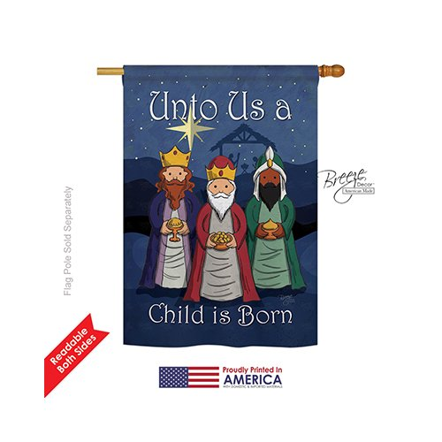 Breeze Decor (™) Unto Us a Child is Born Wisemen Christmas Large Flag 28 inches by 40 inches -  14129