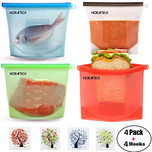 Reusable Silicone Food Storage Preservation Bags - 4 Packs With 4 Self Adhesive Hooks | Airtight Seal, Leakproof, Container Versatile Cooking for Freeze | Heat, Microwave, Sous Vide, Sandwich, Snack