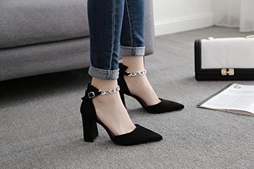 ZXMXY Zapatos de tacón Alto de tacón Alto de Mujer de Tobillo de Las Mujeres Zapatos de tacón Alto de Punta Estrecha Sandalias Sandalias al Aire Libre Negro