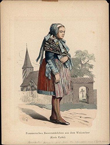 Pomeranian woman Germany Poland traditional dress c.1875 antique costume -