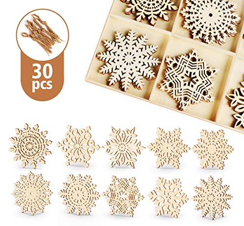 ilauke 30pcs Wooden Snowflakes Ornaments 4 inch Wood Hanging Decorations Rustic Christmas Tree Crafts (Natural Christmas Decorations)