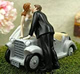 Wedding Collectibles Personalized I'll Love U 4 EVER Car Wedding Cake Topper: Bride Hair: RED - Groom Hair: GRAY