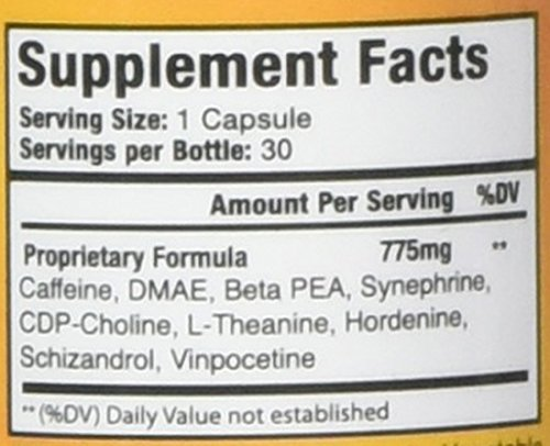 Ampedrin - All Natural Brain Function and Energy Stimulant Supplement by  Nutratech, 30 Caps
